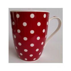 Piros pöttyös finom porcelán bögre 3,4 dl