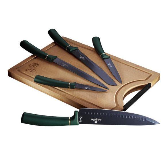Berlinger Haus 6 részes rozsdamentes acél késkészlet bambusz vágódeszkával, smaragdzöld színben