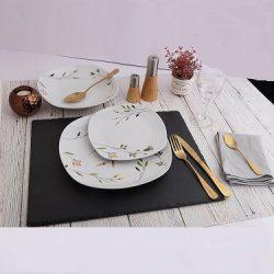 Porcelán étkészlet 18 részes, szögletes, apró virágos mintával