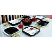 Luminarc Authentic fekete-fehér 19 részes étkészlet, szögletes tányérokkal hullámos széllel