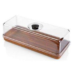 EVELIN plastic tortatál+búra szögletes 16x39x13 cm