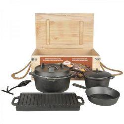 Holland sütő-főző szett 7 részes, grill készlet, fa ládában