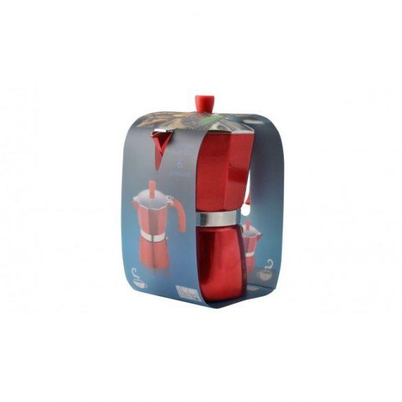Perfect Home Kávéfőző kotyogós  alumínium 6 személyes, piros