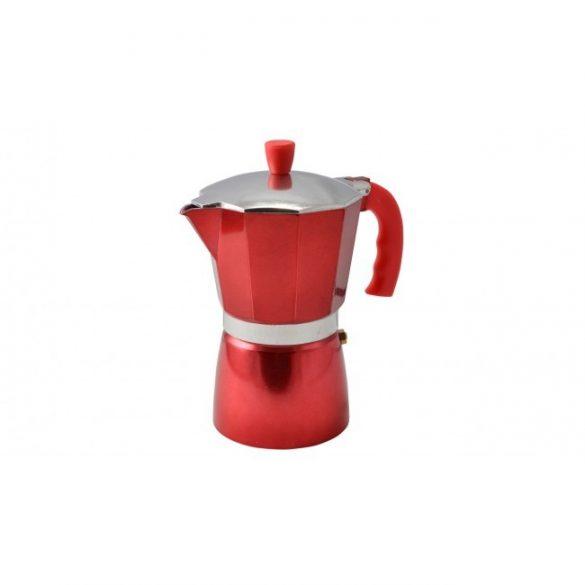 Kávéfőző kotyogós  alumínium 6 személyes, piros