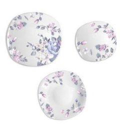 Lila virágos 18 részes porcelán szögletes étkészlet