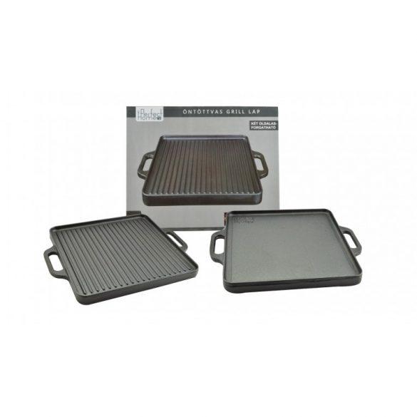 Öntöttvas grill lap, 2 oldalas, 33 x 33 cm