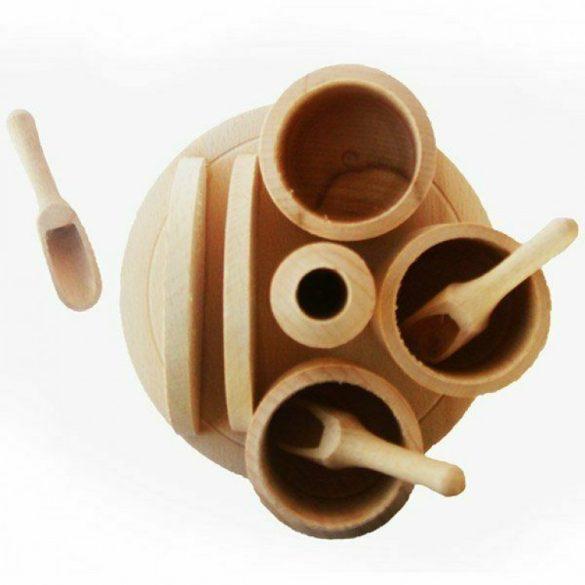 Fa fűszertartó + szalvétatartó