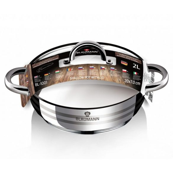 Gourmet Line 2 literes Alacsony rozsdamentes acél lábas hőálló üveg fedővel 20*7 cm