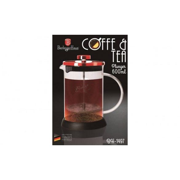 Berlinger Haus Burgundy Dugattyús Kávé- Teafőző 600 ml-es (BH-1497)