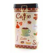 Kávé, Latte mintás fém tárolódoboz zárható tetővel 16*9*9 cm