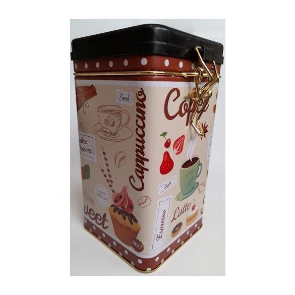 Kávé, latte mintás, fém tárolódoboz, zárható tetővel, 16*9*9 cm