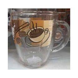 Üveg bögre kávé mintával,   3,8 dl