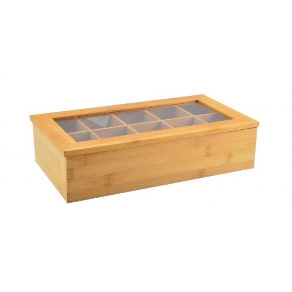 Teafilter, tartó bambusz, 10 rekeszes