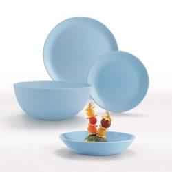 DIWALI LIGHT BLUE opál üveg 19 részes étkészlet