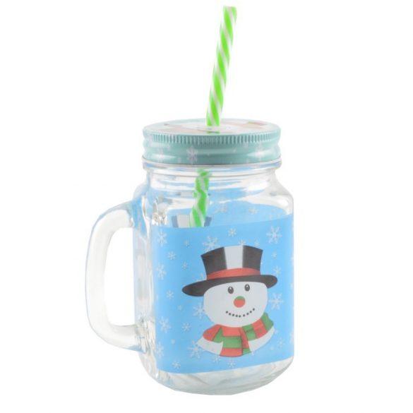 Bögre szívószállal, karácsony-hóember dekor 450 ml