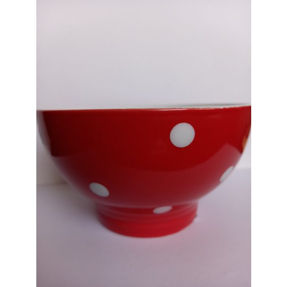 Piros pöttyös porcelán tálka 13*7 cm 4 dl