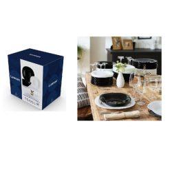 Luminarc Carine üveg étkészlet 19 részes, fekete-fehér