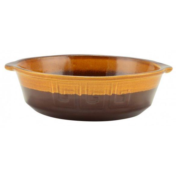 Agyag római sütőtál, kerek, mázas, 1 literes