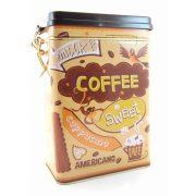 Coffee, Milk, Latte feliratos fém tárolódoboz, zárható tetővel, 18*12*8 cm