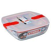 Pyrex Cook&Heat szögletes sütő-hűtő tál műanyag fedővel,  25*22*7 cm,    2,2 l