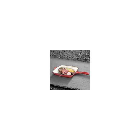 Berlinger Haus Strong Mold Seria öntöttvas grill serpenyő zománcozott bevonattal, piros/fehér 26*26*4,5 cm