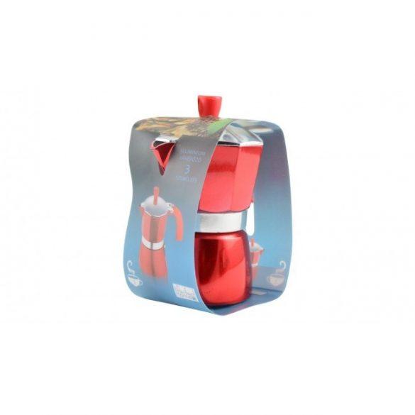Kávéfőző alumínium 3 személyes, piros