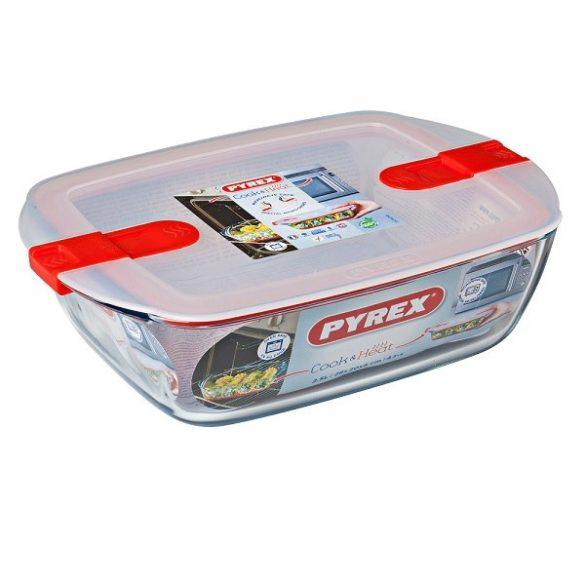 Pyrex Cook&Heat szögletes sütő-hűtő tál műanyag tetővel,   28*20*8 cm,   2,5 l