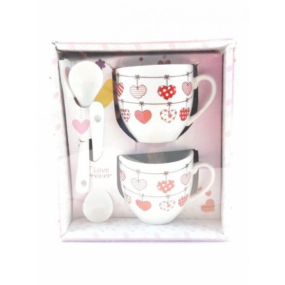 Díszdobozos porcelán 2 db-os szivecskés mintás csésze szett 2 db kanállal 2*100 ml