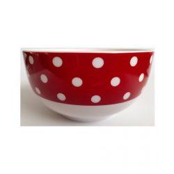 Piros pöttyös finom porcelán tálka 4,8 dl