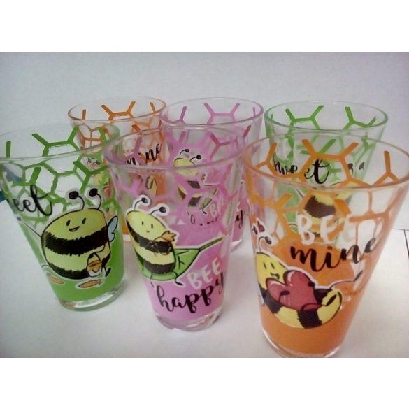 Nadia Méhecskés üveg pohár szett 6*2,7 dl