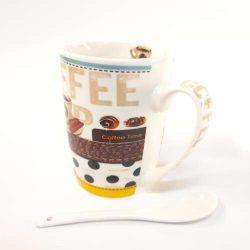 Kerámia bögre kanállal, kávé mintás díszdobozban 350 ml
