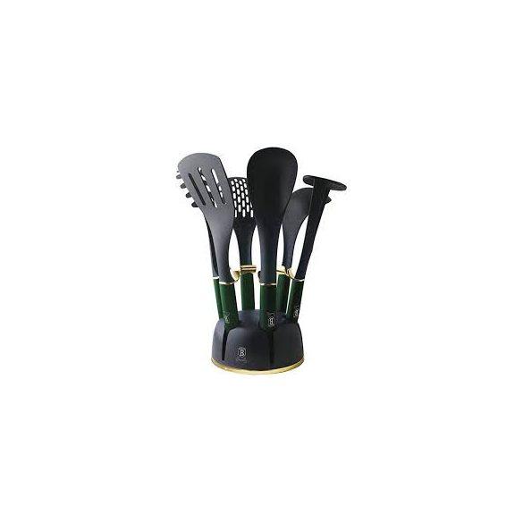 Berlinger Haus Emerald Collection 7 részes nylon konyhai eszköz készlet állvánnyal, fekete/smaragdzöld BH-6243