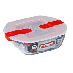 Pyrex Cook&Heat szögletes sütő-hűtő tál műanyag tetővel,   14*12*4 cm,   0,35 l