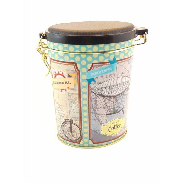 Ovális fém tároló doboz aromazárós tetővel léghajó, bicikli mintával 16*11*7,5 cm