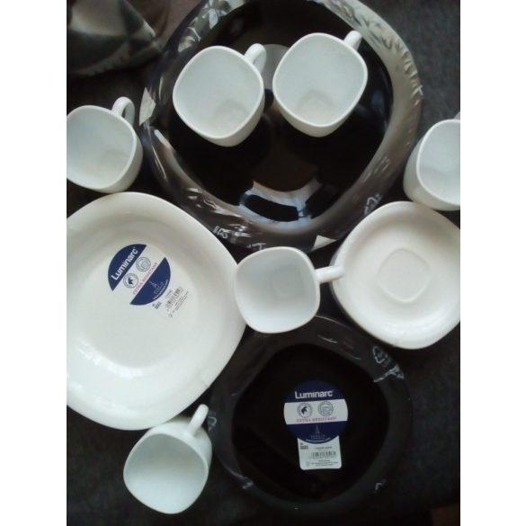 Luminarc Carine üveg 30 részes étkészlet, fekete-fehér színben