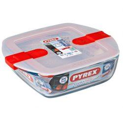 Pyrex Cook&Heat szögletes sütő-hűtő tál műanyag tetővel,  20*17*6 cm,   1 l